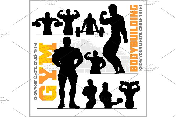 Silhouettes Of Bodybuilders Gym Vector Icon Set