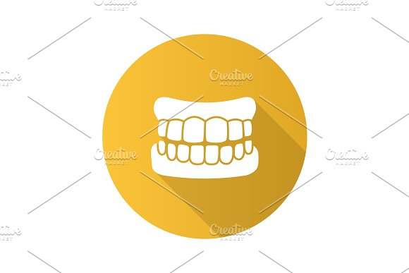 Dentures Flat Design Long Shadow Glyph Icon