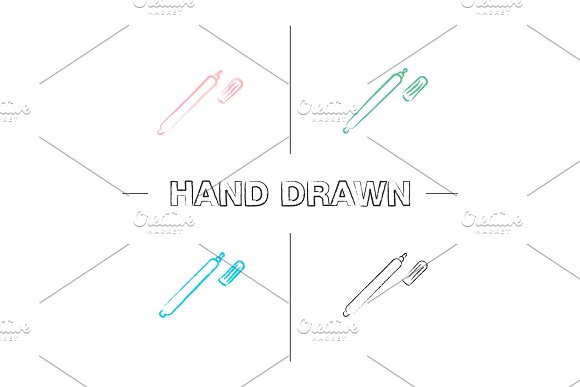Marker Pen Hand Drawn Icons Set