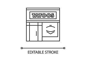 Tattoo studio facade linear icon