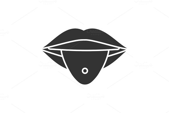 Pierced Tongue Glyph Icon