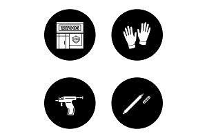 Tattoo studio glyph icons set