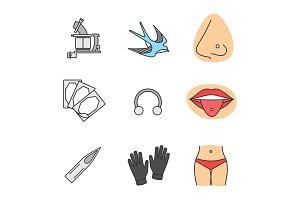Tattoo studio color icons set
