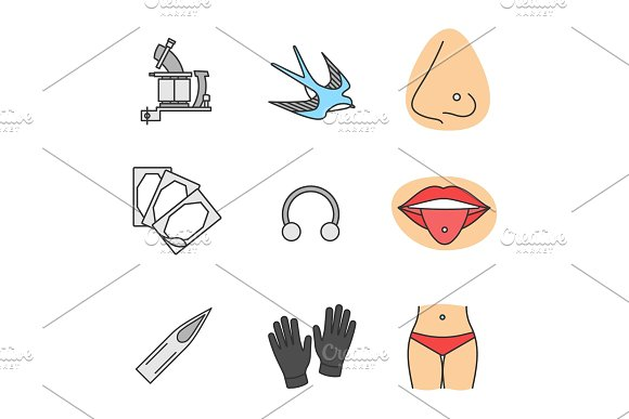 Tattoo Studio Color Icons Set