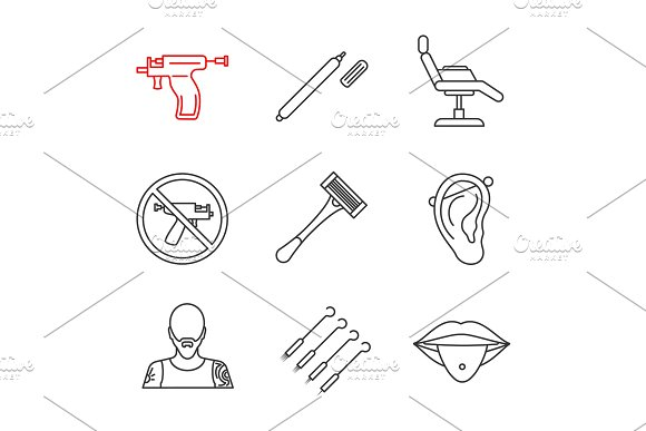 Tattoo Studio Linear Icons Set