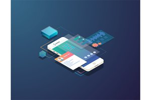 Isometric mobile development illustration