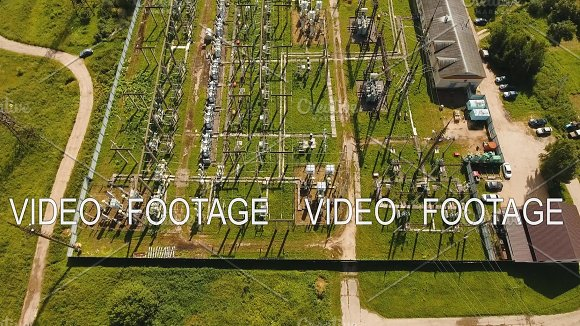 Electrical Substation Power Station Aerial View