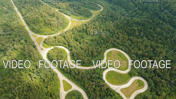 Test Road In The Forest Aerial View