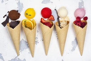 Chocolate, orange, strawberry, vanilla and raspberry ice cream