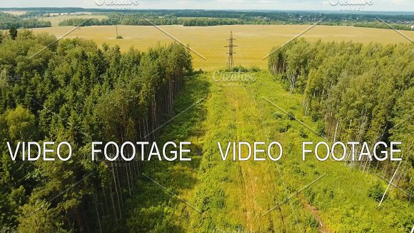 High Voltage Power Line Aerial View