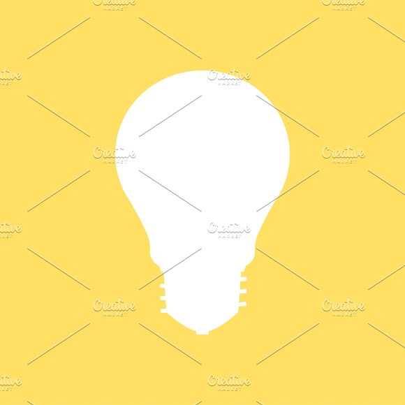 Light Bulb Icon On Yellow Background