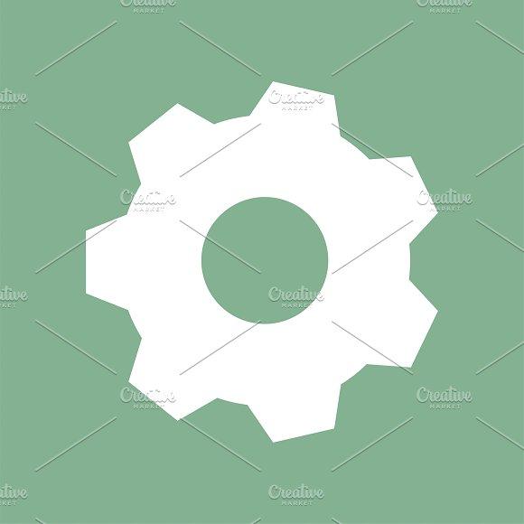White Gear On Green Background