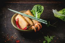 Spring rolls with vegetables and shr