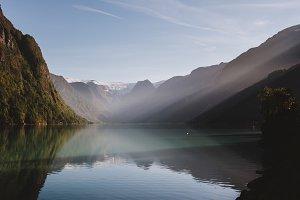 Mountain Lake with Morning Sun