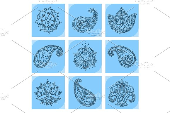 Henna Tattoo Mehndi Flower Doodle Ornamental Decorative Indian Design Pattern Paisley Arabesque Mhendi Embellishment Vector