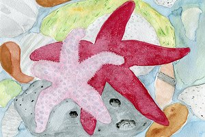 Sea Stars Watercolour Printable Art