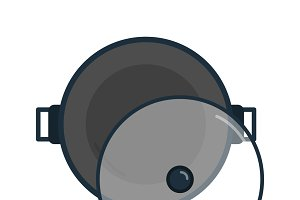 Frying pan cooking utensils graphic