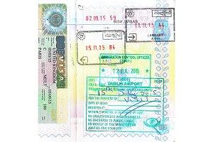 Passport with UK visa and stamps of Cyprus, Ireland