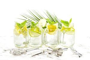 Cocktail drink lemon mint ice