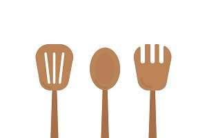 Wooden cooking utensils graphic