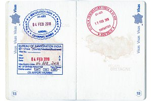 Immigration stamps of India in a French passport