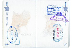 Stamps of Canada, United States and Thailand in a French passport