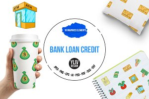 Bank loan credit icons set, cartoon