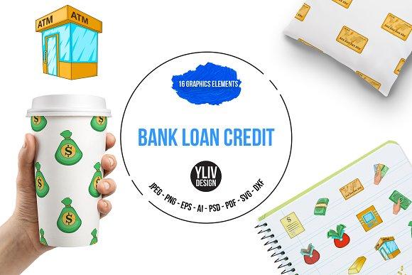 Bank Loan Credit Icons Set Cartoon