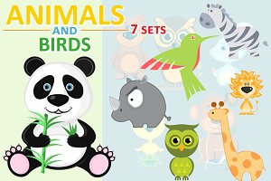 Animals and birds. 7 sets