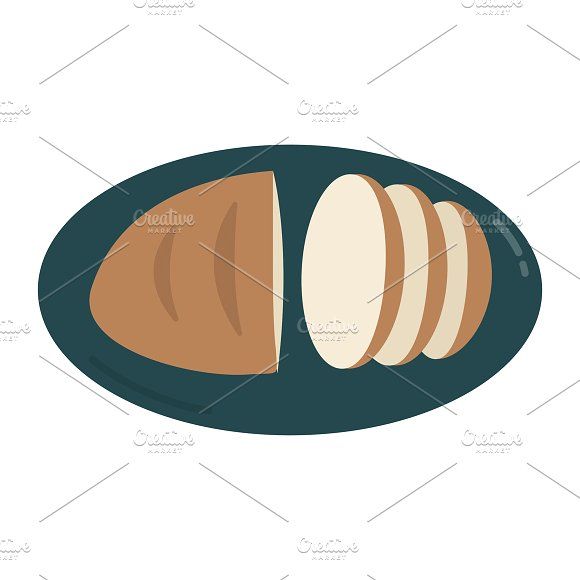 Bread On A Plate Graphic Illustratio