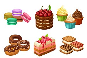 Cartoon Sweet Products Elements Set