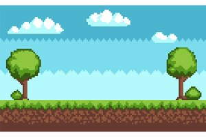 Tree Bush Pixel Style Vector Illustration Landscape