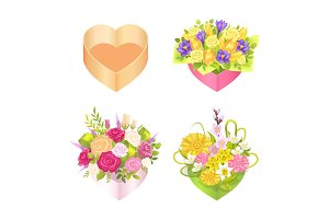 Four Colorful Boxes with Heart`s Shape, Color Card