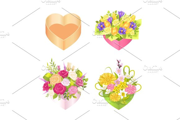 Four Colorful Boxes With Heart`s Shape Color Card