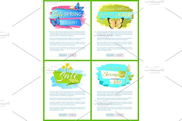 Spring Sale Web Poster With Bouquet Of Daffodils