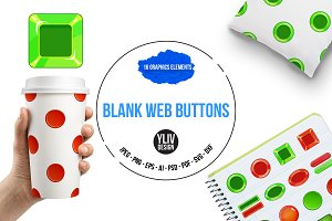 Blank web buttons icons set, cartoon