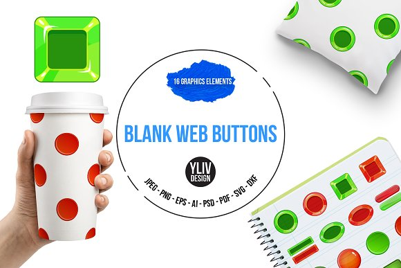 Blank Web Buttons Icons Set Cartoon