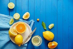 Citrus fruits, limes and lemon