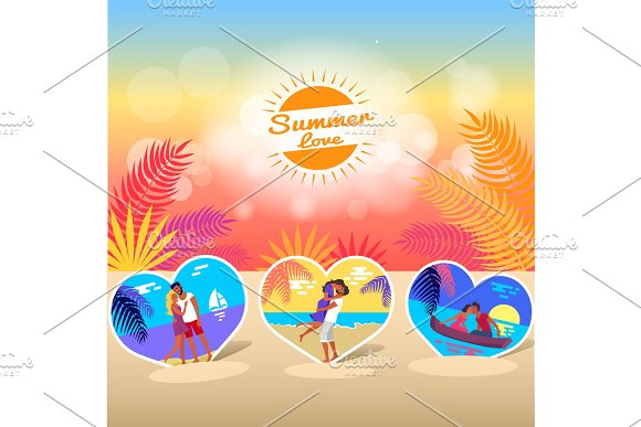 Summer Love Time Banner With Photos Of Couple