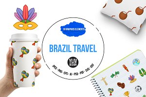 Brazil travel icons set, cartoon