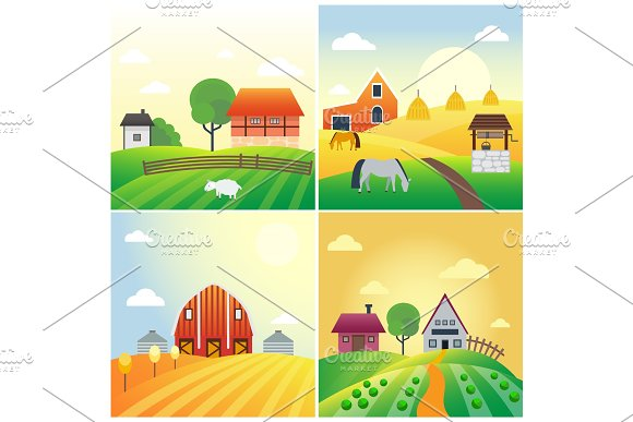 Farm Agriculture Banner Rural Landscape Products Old Barn And Field Cartoon Vector Illustration