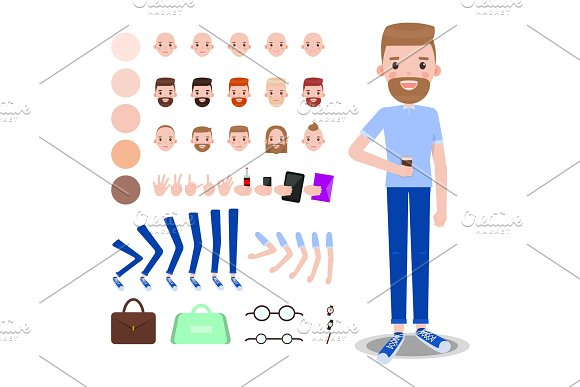 Character Builder Collection Vector Illustration