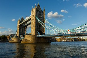 Establishing Shot London Iconic Landmark Tower Bridge. river transport