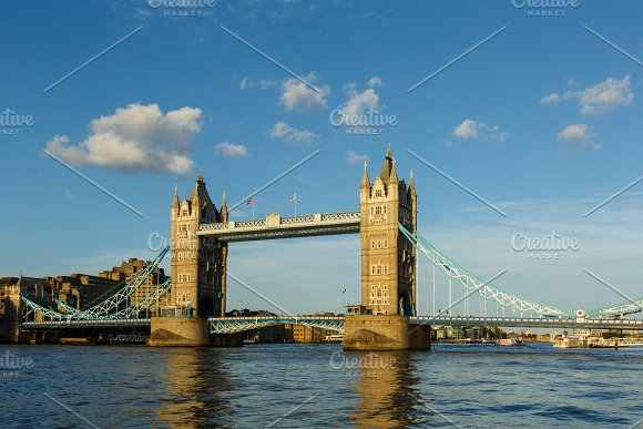 Establishing Shot London Iconic Landmark Tower Bridge River Transport