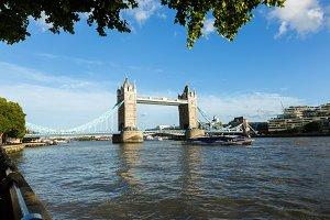 Daylight Establishing Shot London Iconic Landmark Tower Bridge. river transport