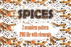Seamless pattern with spices.