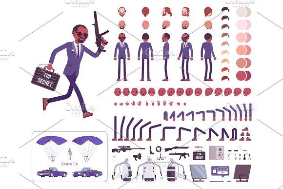 Secret Agent Black Man Intelligence Service Spy Character Creation Set