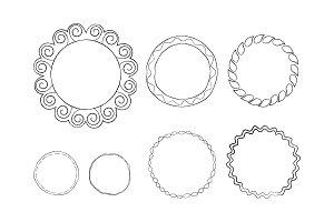Round Doodle Line Art Frames Vector Set