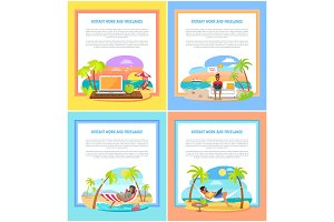 Distant Work and Freelance Promotional Banners Set