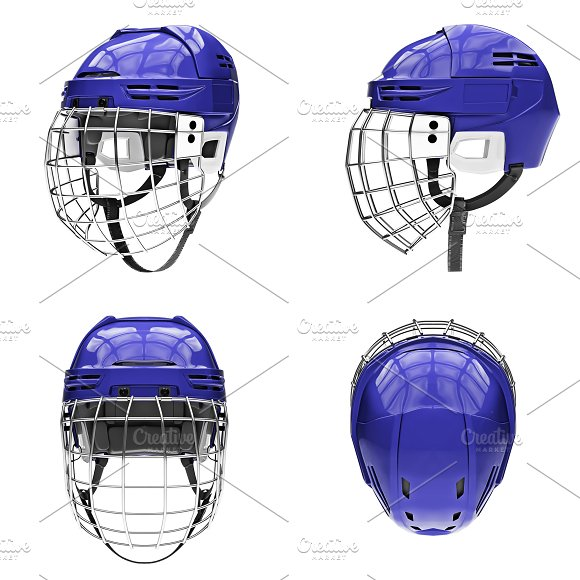 Set Of Classic Ice Hockey Helmets
